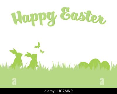 Easter Bunny Greeting Card Template With Hand Drawn White Stripes