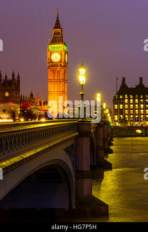 Evening Westminster Bridge London looking towards the Houses of Parliament and Portcullis House - Stock Photo