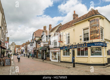 Historical Buildings and Shops in the old town center of Canterbury, in the County of Kent, South East England. - Stock Photo