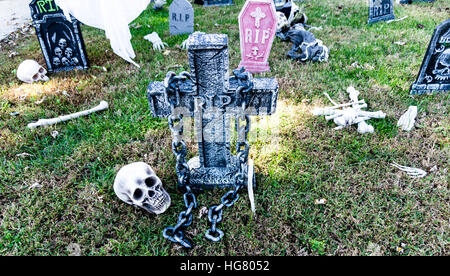 Spooky halloween decoration cemetery in the front yard of a house in stock photo 40098320 alamy - Halloween decorations toronto ...
