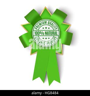 Realistic green fabric award ribbon isolated on white background. - Stock Photo