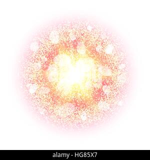 Abstract explosion with gold glittering elements isolated on white. Burst of glowing star. Dust firework light effect - Stock Photo