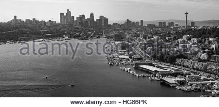 A unique aerial view of Seattle and Lake Union as seen from above Gasworks Park from a float plane - Stock Photo