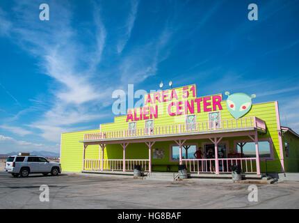 Petrol station, shop, Area 51 Alien Center, Amargosa Valley, Nevada, USA - Stock Photo