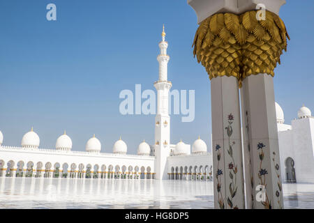 Low angle view of Sheikh Zayed Mosque against clear blue sky - Stock Photo