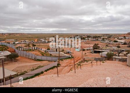 Coober Pedy panoramic view, South Australia - Stock Photo