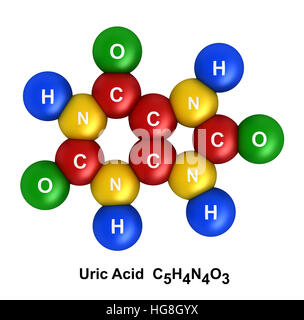 3d render of molecular structure of uric acid isolated over white background - Stock Photo