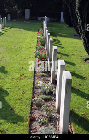 Ramparts Cemetery in Ypres, Ieper, Belgium, the final resting place of soldiers who died fighting there in World - Stock Photo