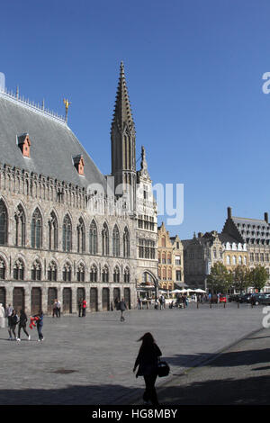The Cloth Hall (Lakenhalle in Flemish) in the center of Ypres (Ieper). It now houses the In Flanders Field Museum. - Stock Photo