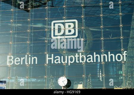 The logo of the Deutsche Bahn AG (german railway company) at Berlin Hauptbahnhof (central train station) in Berlin