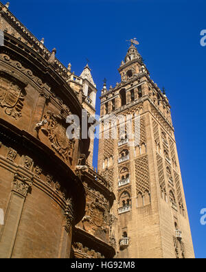 The Giralda Tower, Seville, Andalusia, Spain - Stock Photo