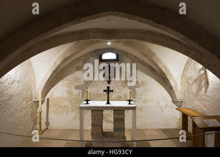 The 14th Century crypt in the Church of the Holy Trinity in the village of Bosham, West Sussex, UK - Stock Photo