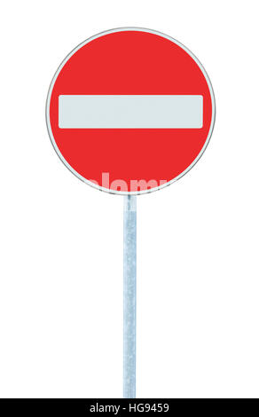 No entry road sign, road traffic warning and pole post, large detailed isolated vertical closeup - Stock Photo
