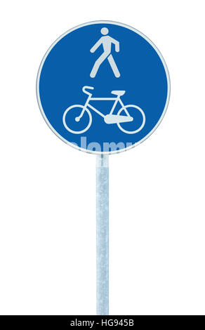 Bicycle and pedestrian lane road sign on pole post, large blue round isolated bike cycling and walking walkway footpath - Stock Photo