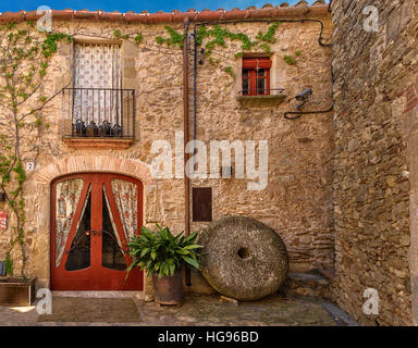 Traditional architecture of Peratallada, Girona province, Catalonia, Spain - Stock Photo