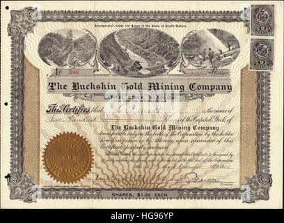1905 The Buckskin Gold Mining Company Stock Certificate - Nevada, USA - Stock Photo