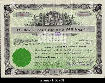 1908 Bullock Mining and Milling Company Stock Certificate - Provo City, Utah - USA - Stock Photo
