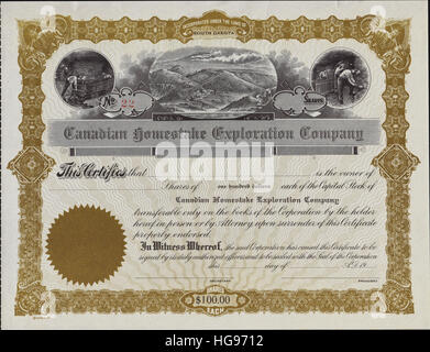 Early 1900s Canadian Homestake Exploration Company Stock Certificate - Incorporated in South Dakota - Stock Photo