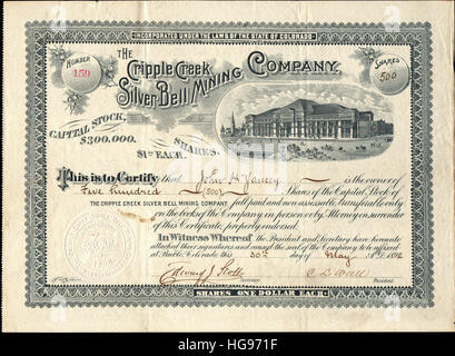 1892 The Cripple Creek Silver Bell Mining Company Stock Certificate - Mineral Palace Vignette - Colorado, USA - Stock Photo