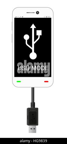 smartphone in a USB connection mode with usb cable - Stock Photo