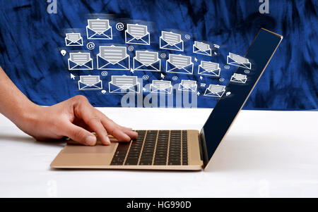 Contact Us Concept sending email icons business theme - Stock Photo