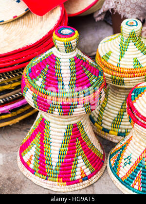 Ethiopian handmade Habesha baskets sold on a local market in Ethiopia. - Stock Photo
