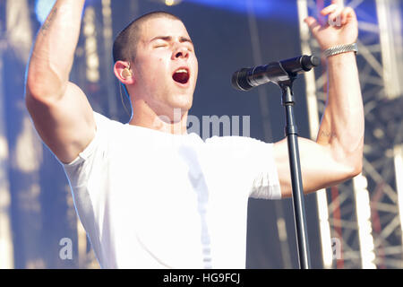 Nick Jonas performs at the 2015 Budweiser Made In America Festival - Stock Photo