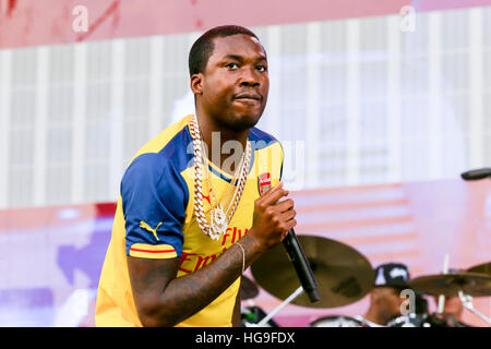 Meek Mill performs at the 2015 Budweiser Made In America Festival - Stock Photo