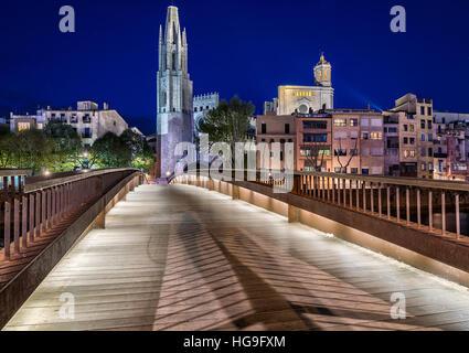 The Collegiate Church of Sant Feliu, Girona, Catalonia, Spain - Stock Photo