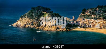 Panoramic view of Tossa de Mar, Girona, Catalonia, Spain - Stock Photo