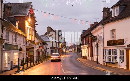 The morning of the last day of Christmas on Fordingbridge High Street, Hampshire, UK. - Stock Photo