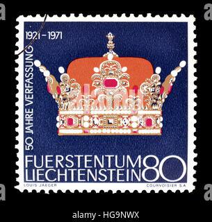 Cancelled postage stamp printed by Liechtenstein, that shows Crown. - Stock Photo