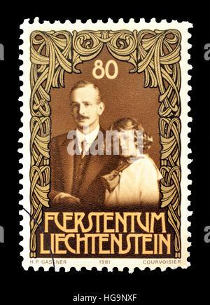 Cancelled postage stamp printed by Liechtenstein, that shows Franz Josef II. - Stock Photo