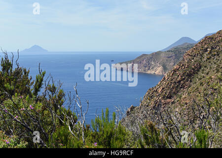 View from the southern tip of Lipari towards Salina, the Aeolian Islands - Stock Photo