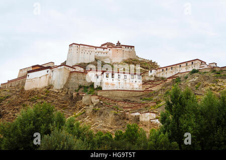 The view of the Great Gyantse Castle in the daytime. - Stock Photo