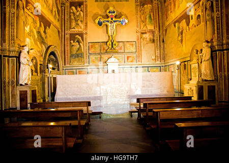 Restoration work being carried out in Cappella Castellani in Santa Croce Basilica Florence Italy - Stock Photo