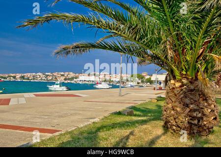 Town of Novalja palm waterfront view, island of Pag in Dalmatia, Croatia - Stock Photo