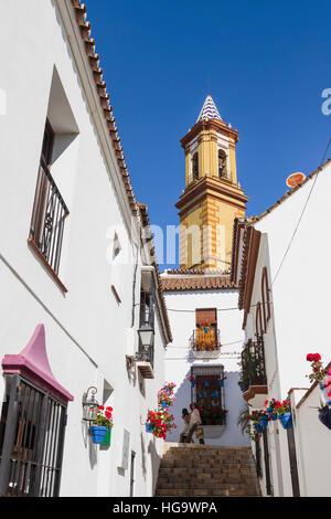 Estepona, Costa del Sol, Malaga Province, Andalusia, southern Spain.  Church.  Tower of Iglesia de Nuestra Señora - Stock Photo