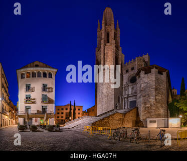 The Collegiate Church of Sant Feliu, Girona, Catalonia, Spain - Stock Photo