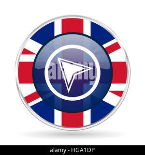 navigation british design icon - round silver metallic border button with Great Britain flag - Stock Photo