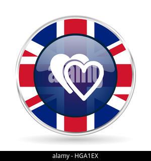 love british design icon - round silver metallic border button with Great Britain flag - Stock Photo