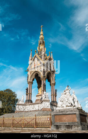 London, United Kingdom - October 17, 2016: Albert Memorial in Kensington Gardens. It was commissioned by Queen Victoria - Stock Photo