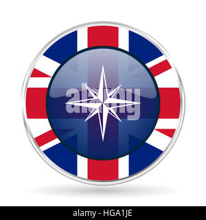compass british design icon - round silver metallic border button with Great Britain flag - Stock Photo
