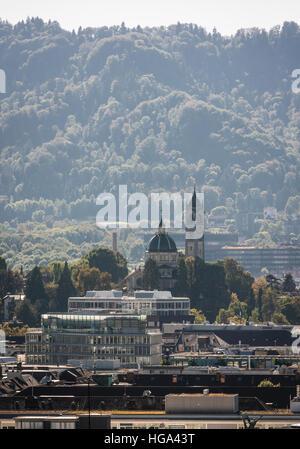 Medieval church 'Enge' in Zurich, Switzerland, also called 'Sacre Coeur of Zurich'. - Stock Photo