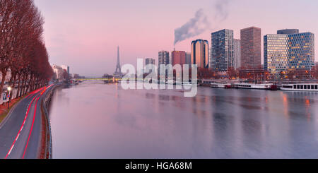 Panorama with Eiffel tower at sunset, Paris France - Stock Photo