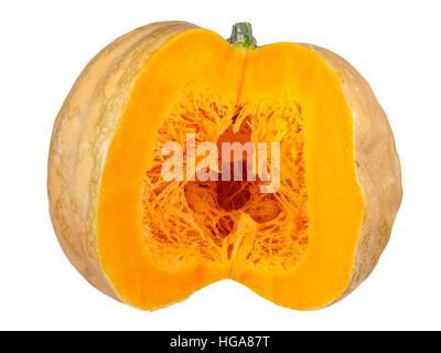 big round orange pumpkin sliced in half isolated on white background. - Stock Photo