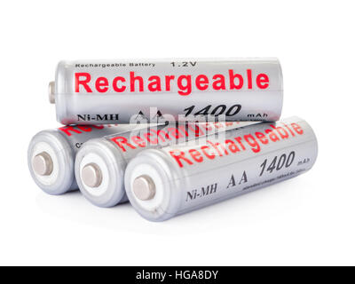 Rechargeable AA batteries isolated on white background. - Stock Photo