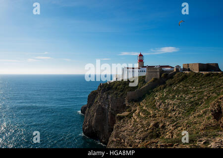 View of the Lighthouse at the Saint Vincent Cape (Cabo de Sao Vincente) in Sagres, Algarve, Portugal; Concept for - Stock Photo