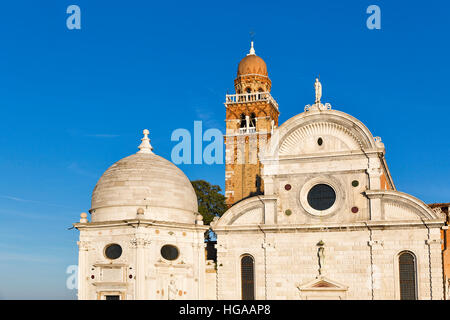 San Michele cemetery church in Venice at sunset, Italy. View from lagoon. - Stock Photo