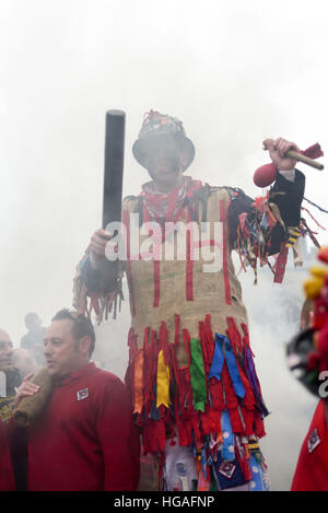 Haxey, Lincolnshire, UK. 6th Jan, 2017. The Haxey Hood is a 700-year old game, it took place today during a downpour. - Stock Photo